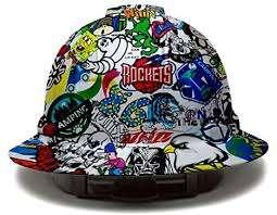 Pyramex Full Brim Hard Hat with Sticker Bomb Design