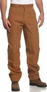 Carhartt Men's Firm Duck Double-Front Work Dungaree Pant B01 for best welding pants