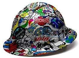 Pyramex Full Brim Most Comfortable Hard Hat with Sticker Bomb Design